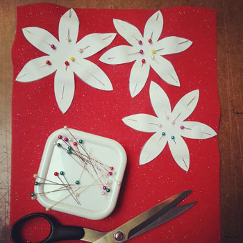 How to Sew a Poinsettia Step