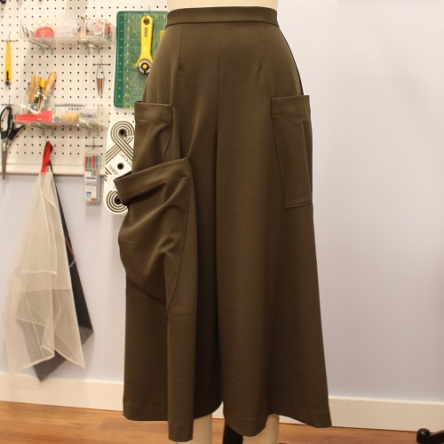 Khaki Green Military Culotte Pants