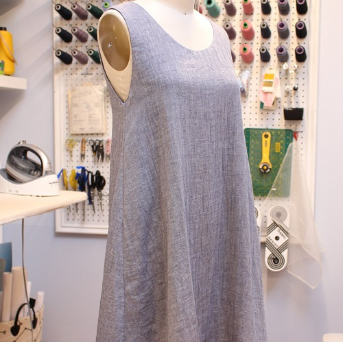 Blue Linen Dress Silk Lining