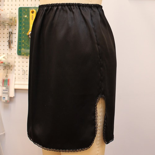 Black Silk Slip Skirt