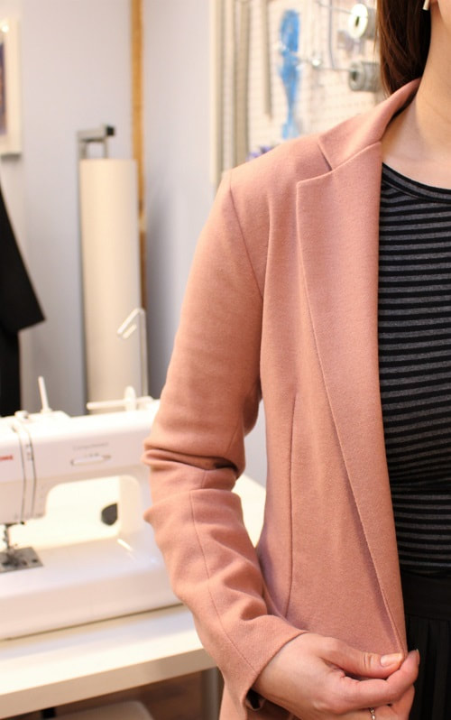 Notched Lapel Wool Blazer