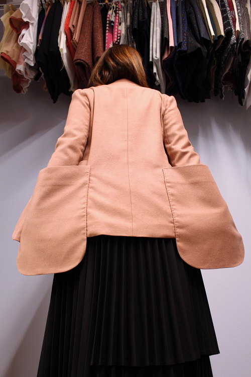 Pink Wool Double Over-sized Patch Pocket Blazer