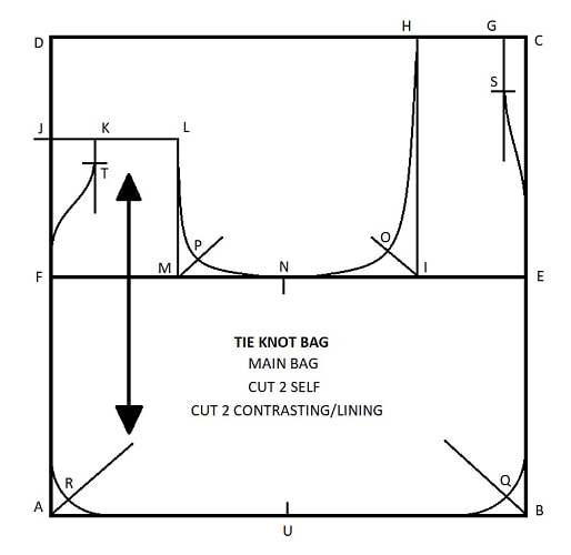 Tie Knot Bag Drafting Instructions